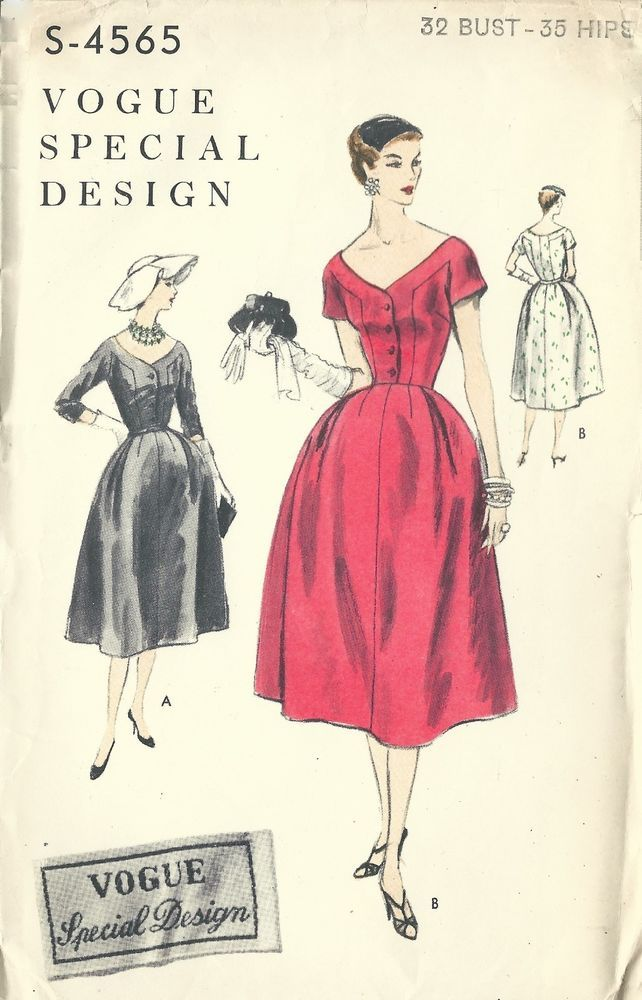 Vintage 1950\'s Vogue Special Design Sewing Pattern Wide Neck Dress ...