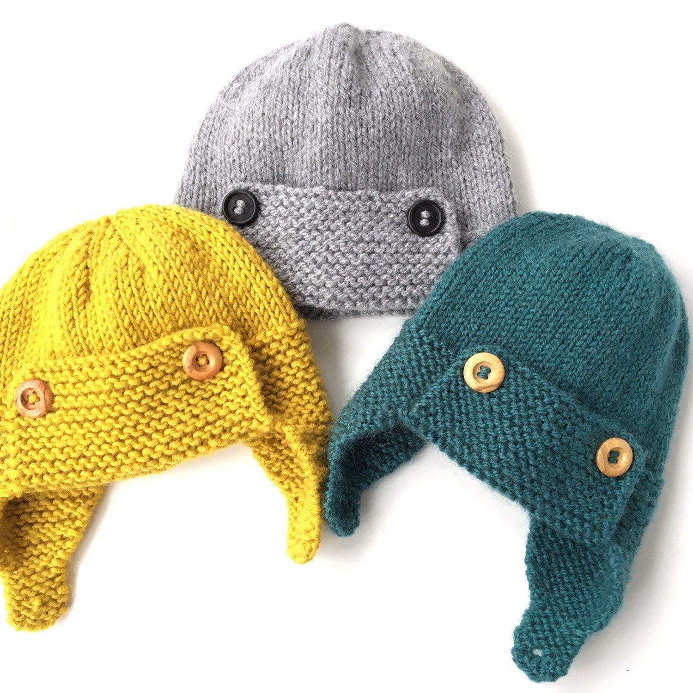 Baby Aviator Hat Knitting Pattern REGAN   Etsy   Baby hats ...