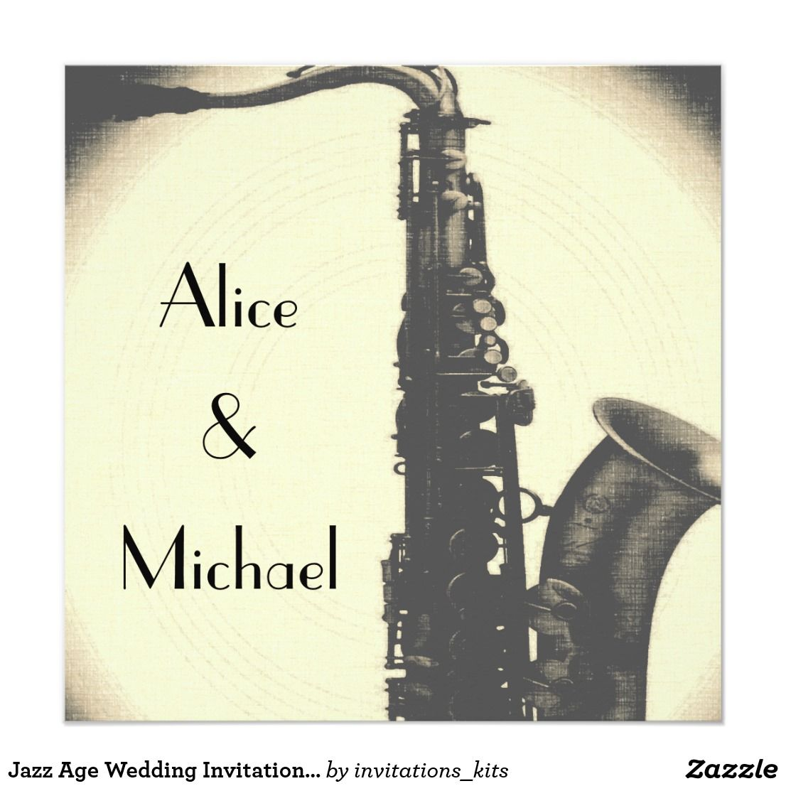 Jazz Age Wedding Invitation Art Deco Style
