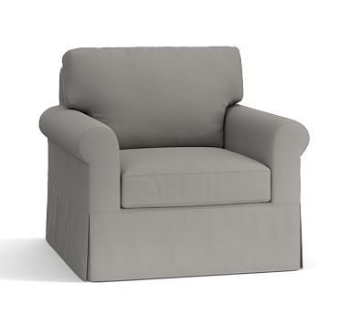 York Roll Arm Slipcovered Swivel Armchair, Down Blend Wrapped Cushions, Organic Cotton Basketweave Light Gray