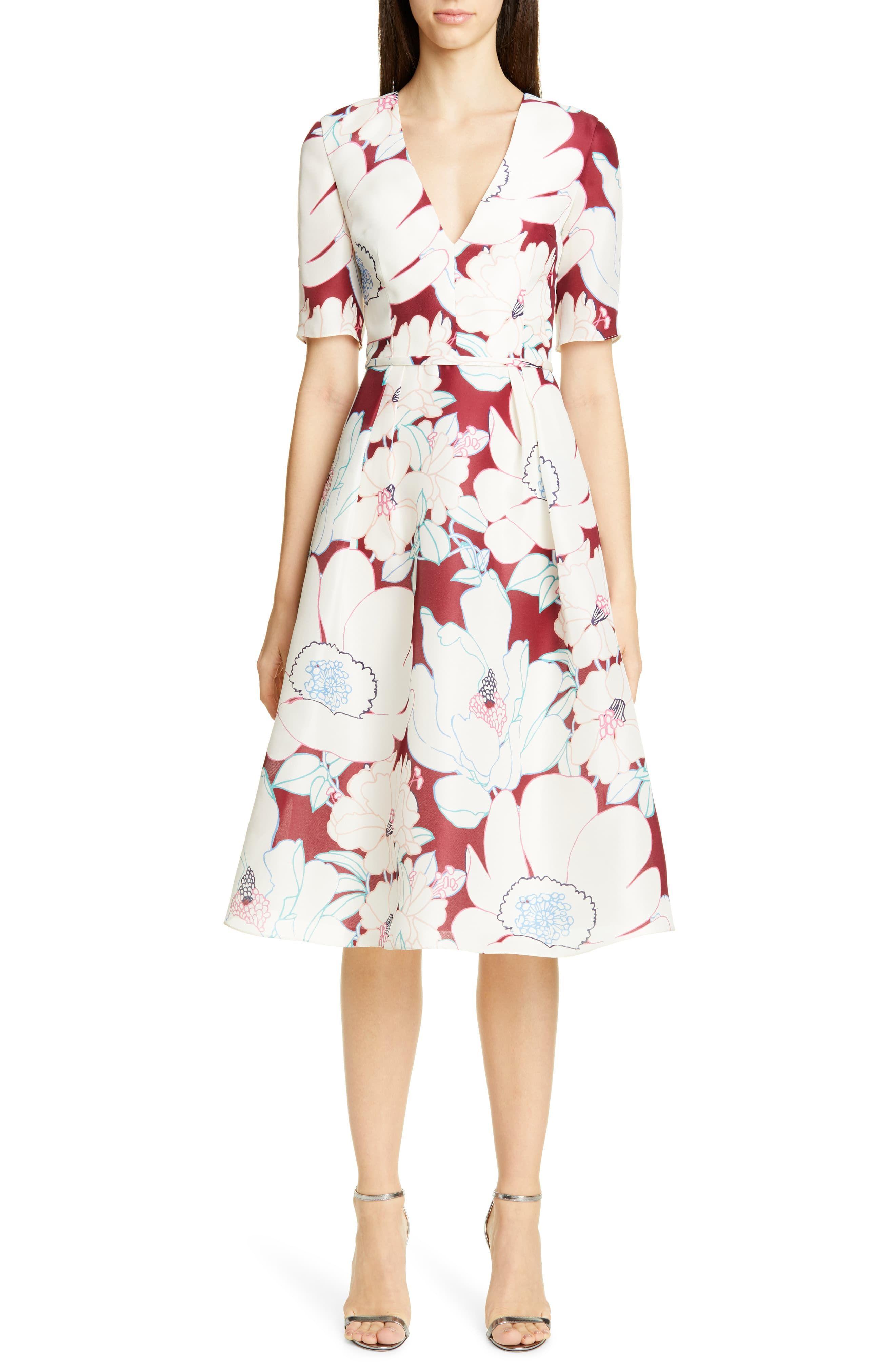 Carolina Herrera Oleander Print Silk Fit Flare Dress Available At Nordstrom Fit Flare Dress Flare Dress Womens Dresses [ 4048 x 2640 Pixel ]