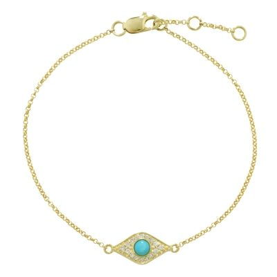 Luxury Enchanted Yellow Gold Evil Eye Diamond and Turquoise