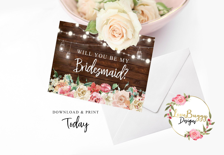 Bridesmaid proposal card will you be my bridesmaid etsy