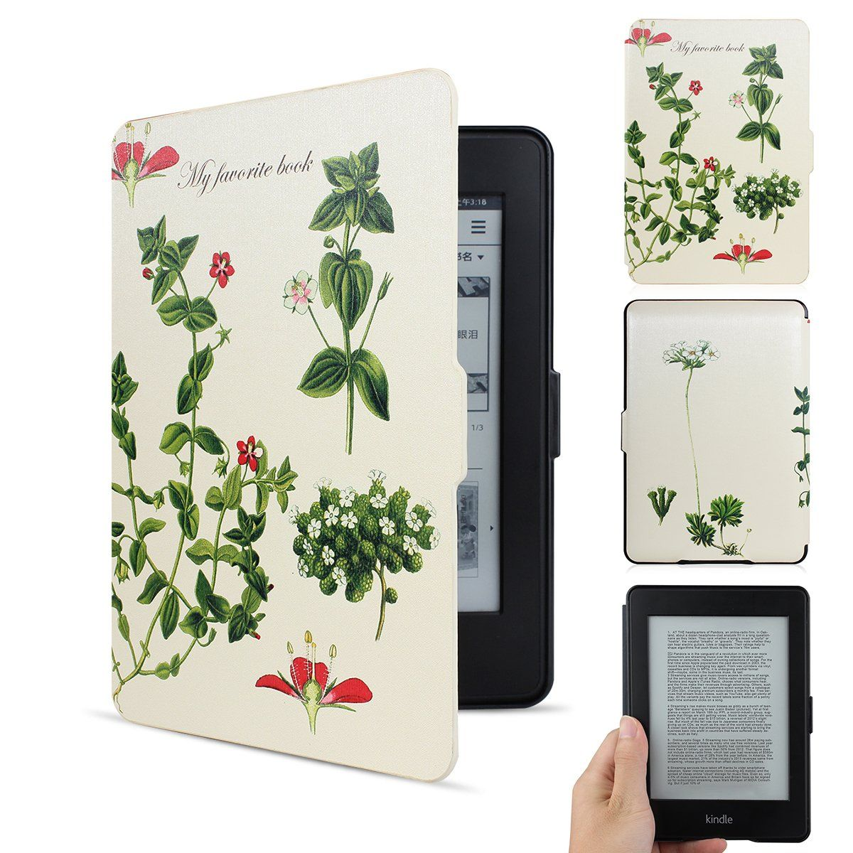 "Amazon.com: Walnew the Thinnest and the Lightest Colorful Painting Leather Cover Case for Kindle Paperwhite(fits All Versions: 2012, 2013, 2014 and 2015 All-new 300 PPI Versions) Tablet with 6"" Display and Built-in Light (For Kindle Paperwhite) (Tree and Flower): Electronics"