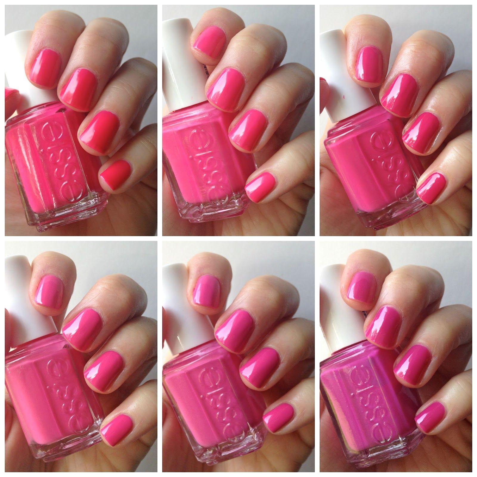 Essie Hot Pink Comparison Lights Bottle Service Fiesta Pansy