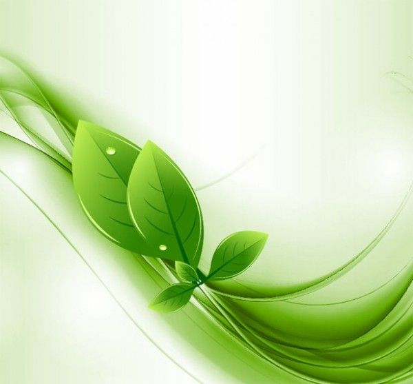 Eco Leaves Green Waves Abstract Background Free Vector