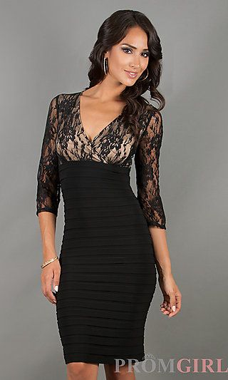 Knee Length Black Lace Embellished Dress At Promgirlcom