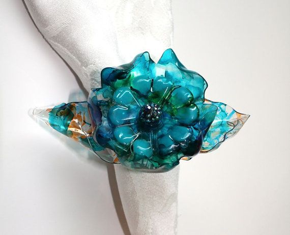 Tiffany Blue Wedding Napkin Ring Set Peacock By ArtePlastique