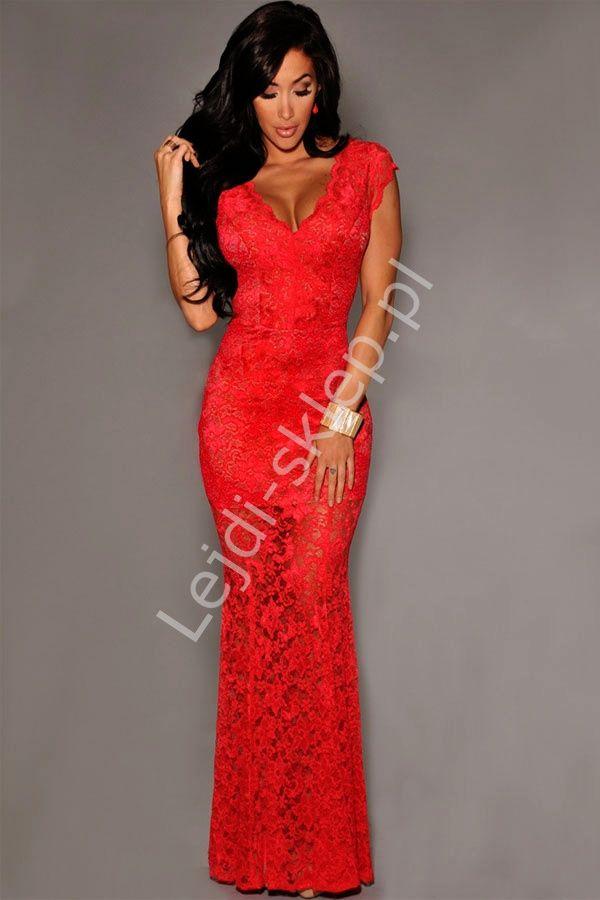 2a128473f0 Czerwona długa koronkowa sukienka