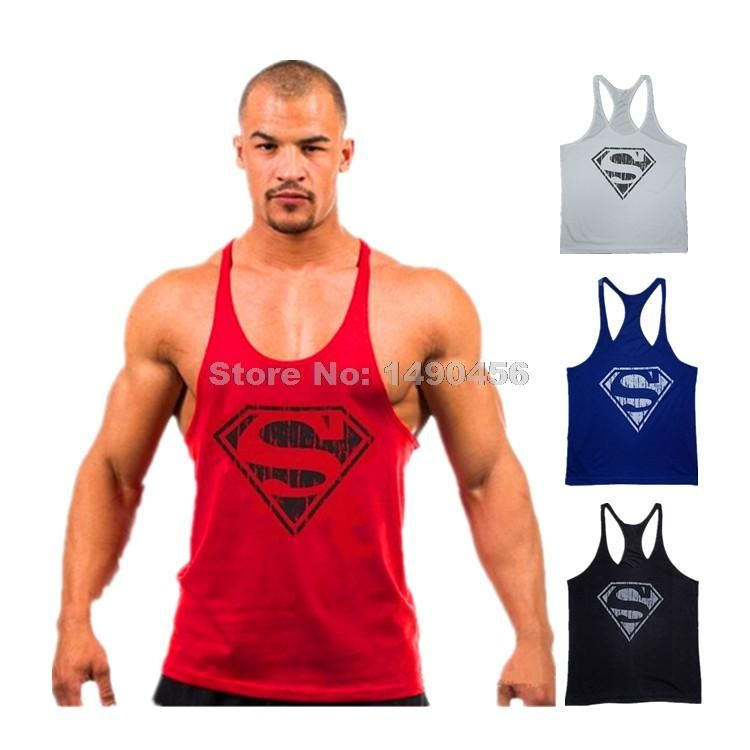 7475c7a700983f Superman clothing Tank Top Mens Sleeveless Shirt Bodybuilding and Fitness  Stringer Singlet 100% Cotton Muscle