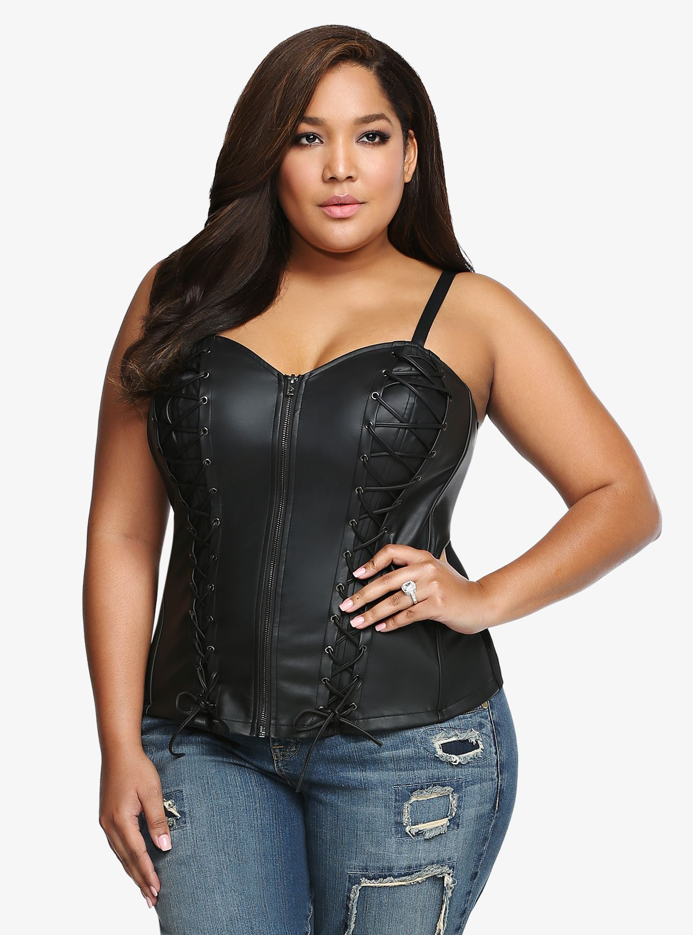 8dda0b2839b75 Tripp Faux Leather Lace-Up Corset Top