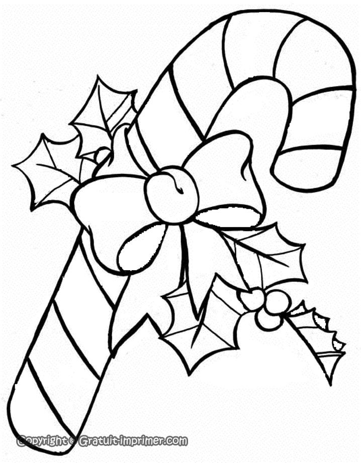 Coloriage de noel canne sucre houx et noeud colour for christmas coloriage noel - Canne coloriage ...