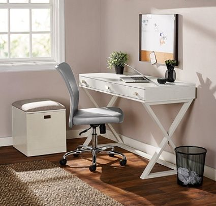 See Jane Work Kate Writing Desk White By Office Depot Officemax White Writing Desk Desk Writing Desk