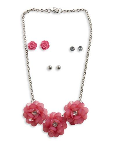 Capelli New York Four-Piece Floral Jewelry Set  Pink