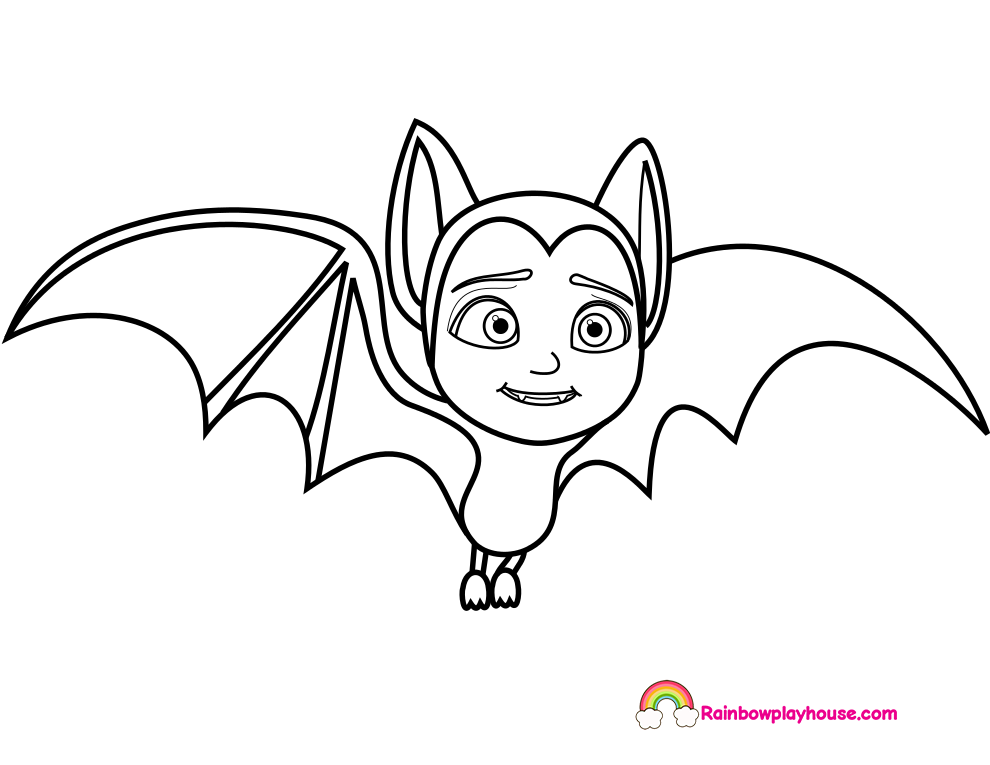 Printable vampirina bat coloring page cute coloring for Printable bat coloring pages