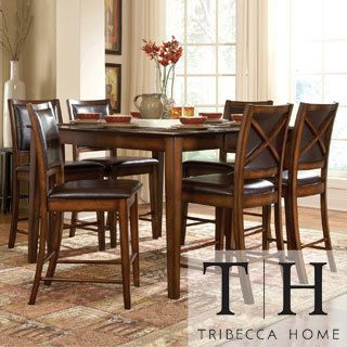 This Frisco Bay Dining Set Features A Durable Asian Rubberwood Construction  With An Oak Veneer Table Top With Walnut Inlays And A Distressed Rustic Oak  ...