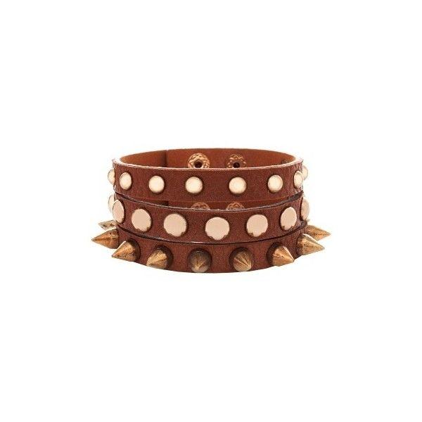 Talullah Tu Tan Leather Studded Spike Bracelet ($31) ❤ liked on Polyvore