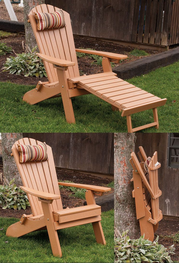 Folding / Reclining Poly Fanback Adirondack Chair w/ Pull