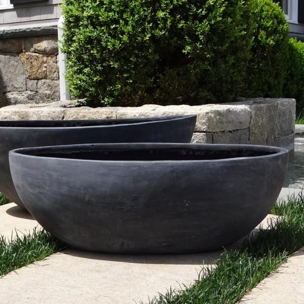 Small Smooth Oval Bowl Planter Black W White Spruce