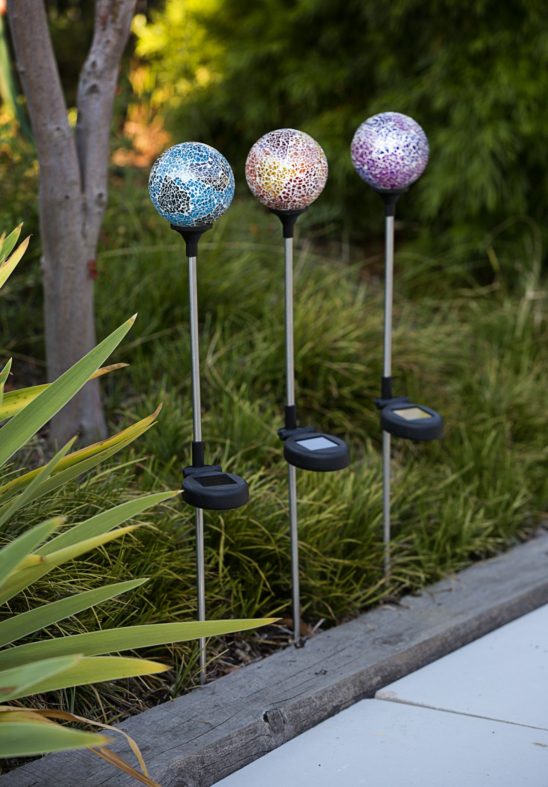 Crackle ball stake solar lights only $10 each from The Reject Shop