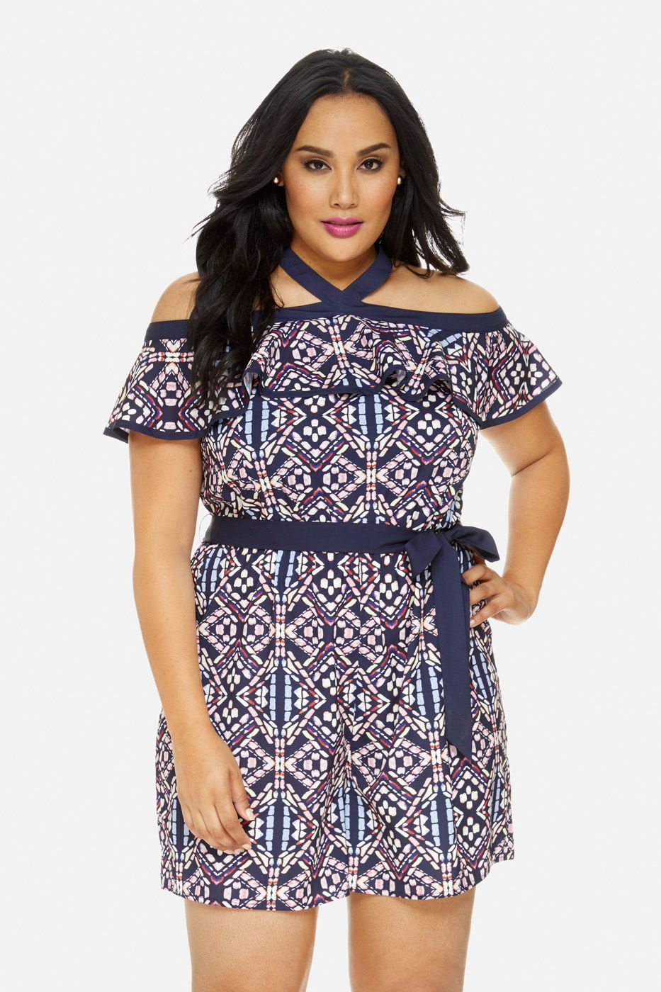 Plus Size Christina Stained Glass Print Romper