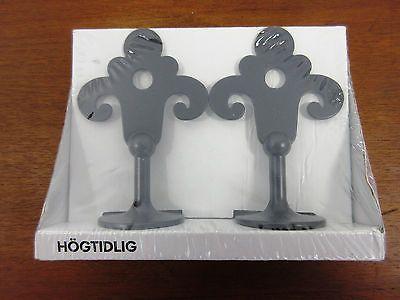Ikea Hogtidlig Curtain Rod Finials 1 Pair Black Finials For Curtain Rods Curtain Rods Ikea