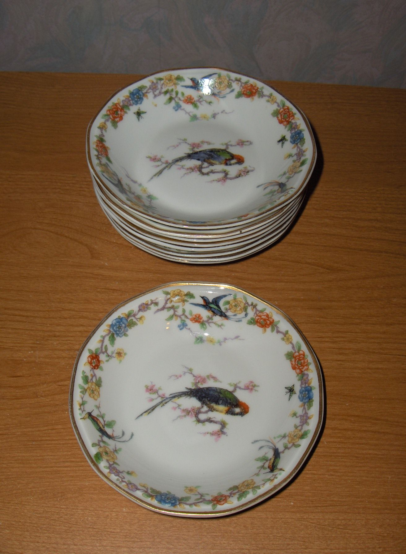 9 Antique Vintage Haviland Limoges China Arcadia Birds Dessert Bowls ...