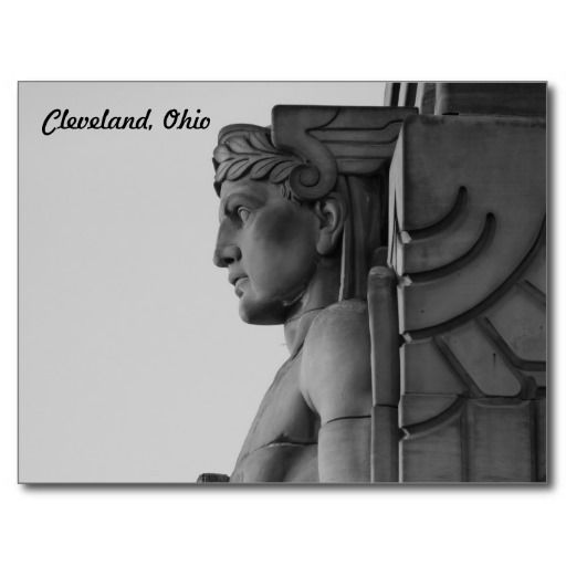 Cleveland OH Bridge Guardian (B & W) Postcard | Black and White ...
