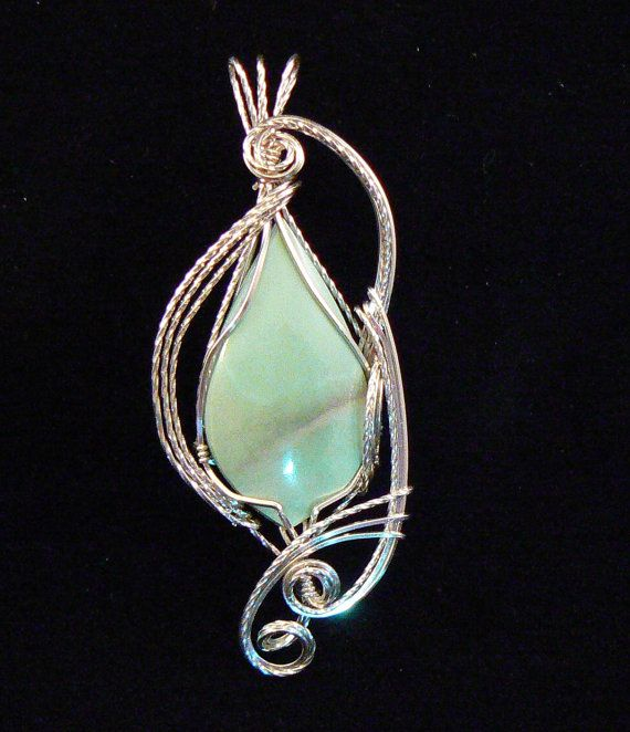 Stunning Varicite pendant wrapped n sterling silver wire | Envuelto ...