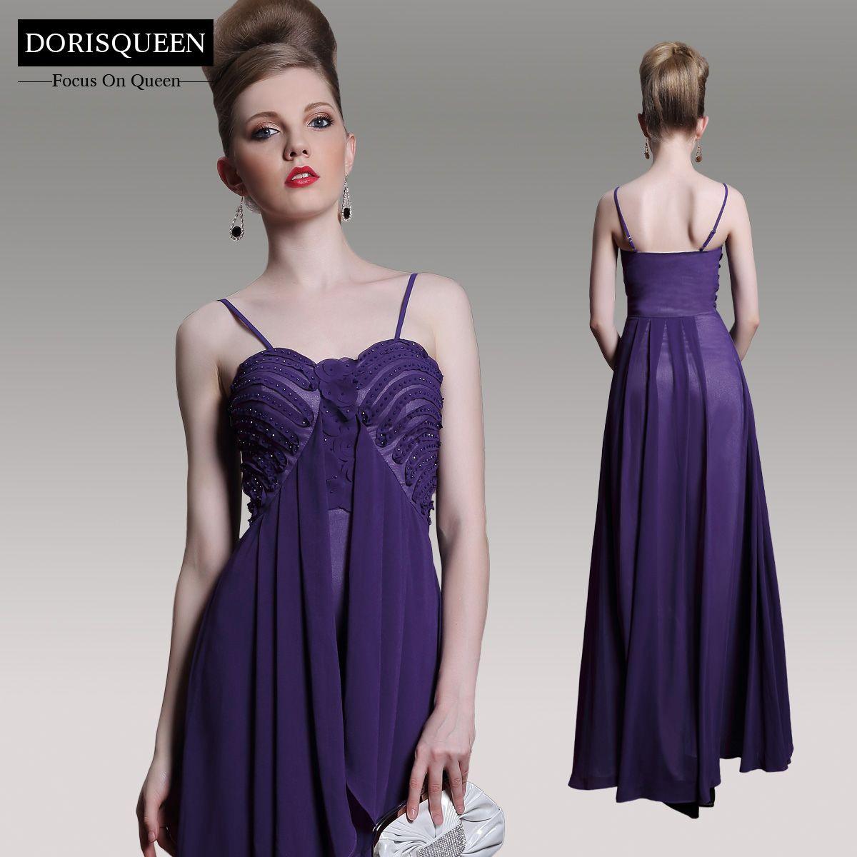 Dorisqueen spaghetti straps empire simple purple evening dresses
