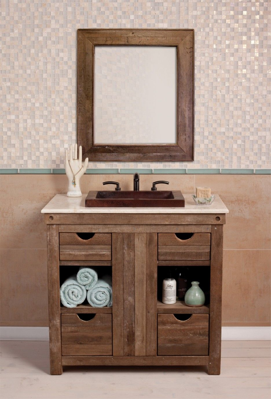 Traditional rustic sink for bathroom idea featuring wall mounted oak wood brown beige square countertop top marble bathroom vanity undermount sink and