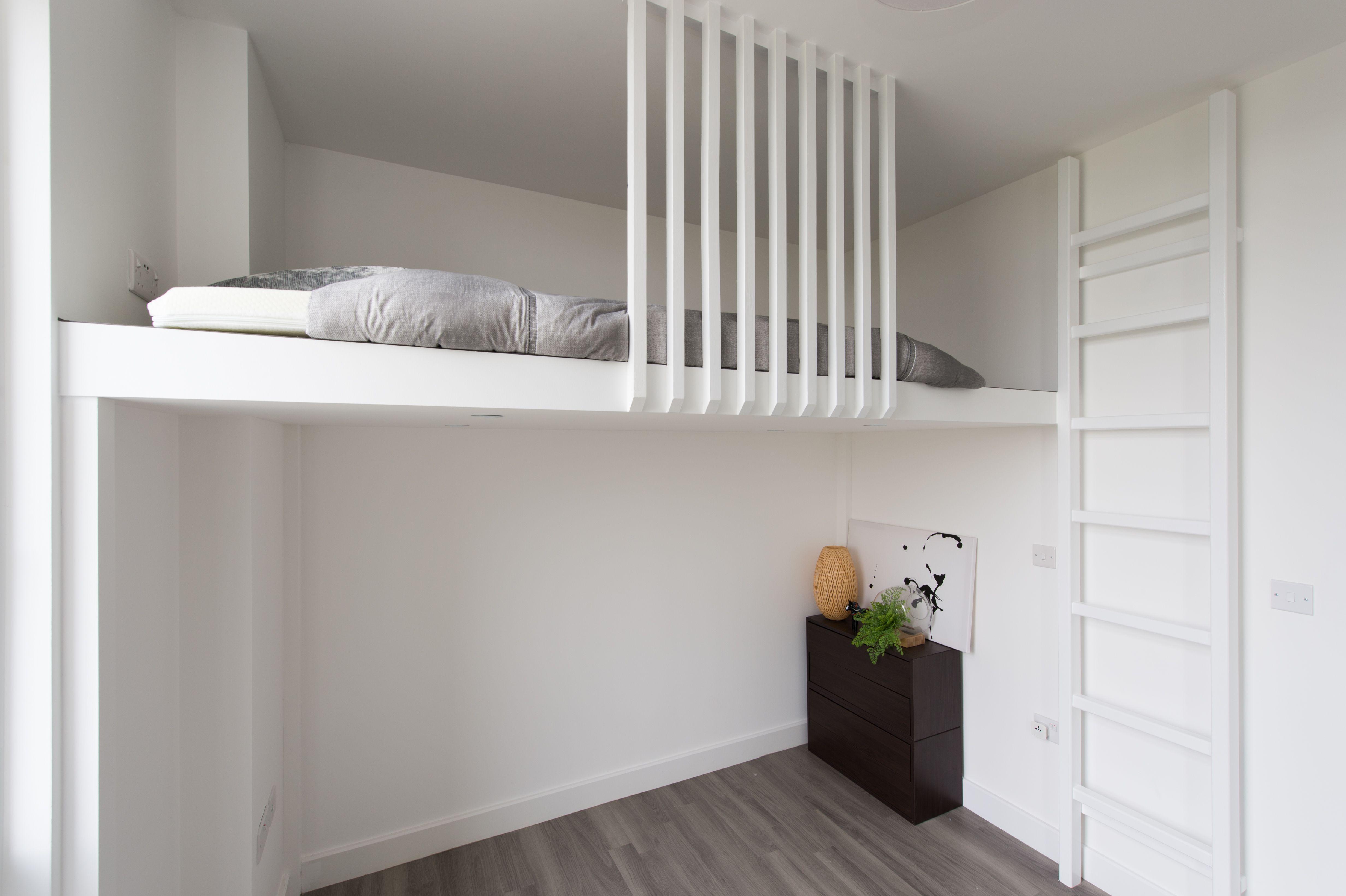 Scandinavian Loft Bespoke Design Compact Living Mezzanine Loft Oak Wood Loft Bed Bes Box Room Bedroom Ideas Small Room Design Small Space Storage Bedroom