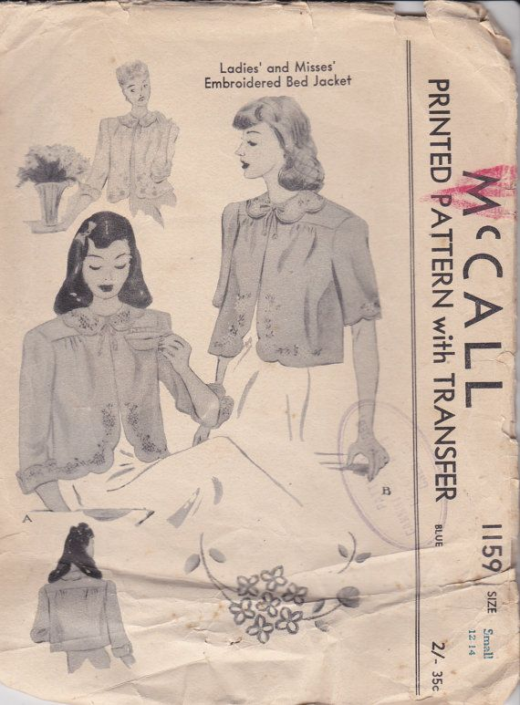 1940\'s Sewing Pattern McCall\'s No 1159 Womens by jennylouvintage ...