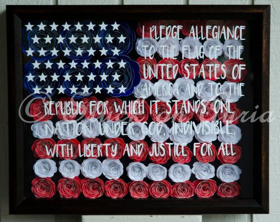 American Flag Shadow Box Pledge Of Allegiance