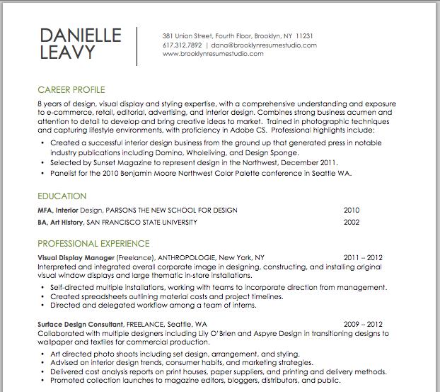 visual retail design resume brooklyn resume studio resumes career - Brooklyn Resume Studio