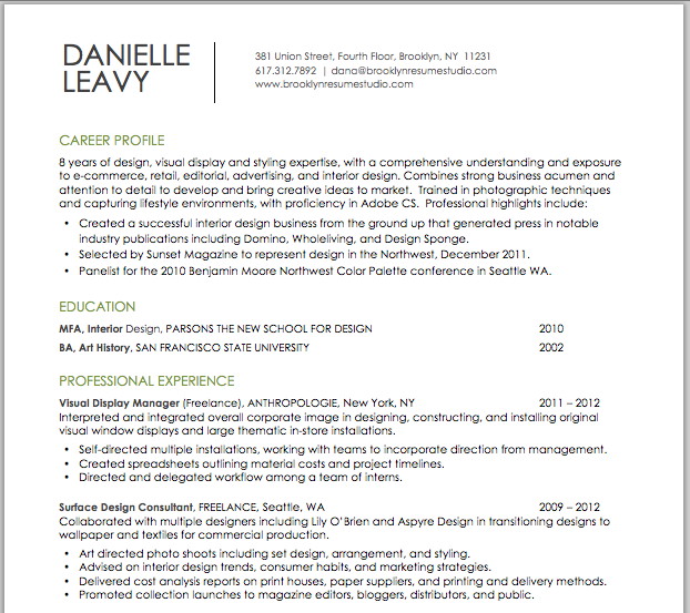 Visual & Retail Design Resume | Brooklyn Resume Studio ...