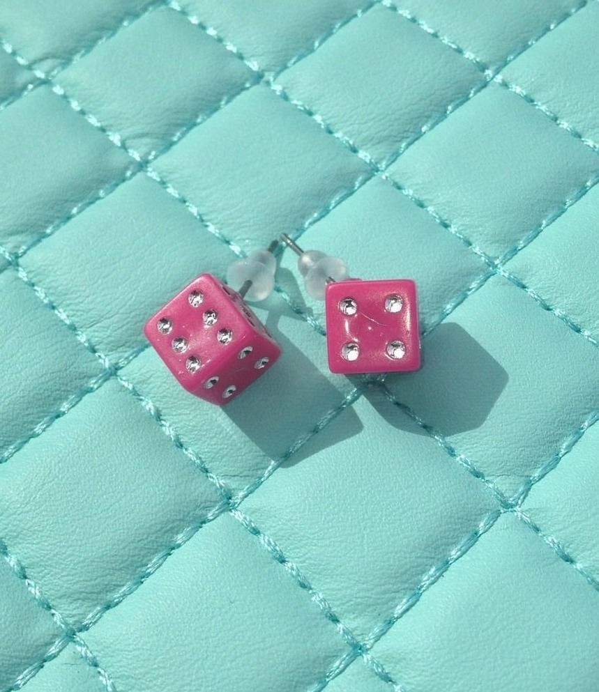 Las vegas special high rollers dark pink dice earrings great bunco las vegas special high rollers dark pink dice earrings great bunco easter gift stud negle Images