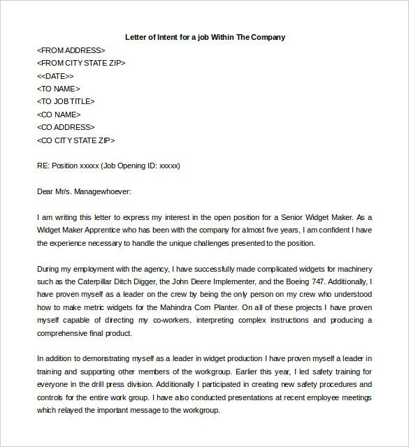 letter of intent cover letters