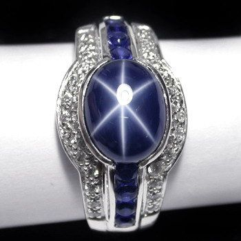 Genuine 6.5 ct 6 rays Natural Blue Star Sapphire Ring Silver Sterling 925 Ring Wedding Birthday FREE resize Gem type Blue Star Sapphire 6 Rays