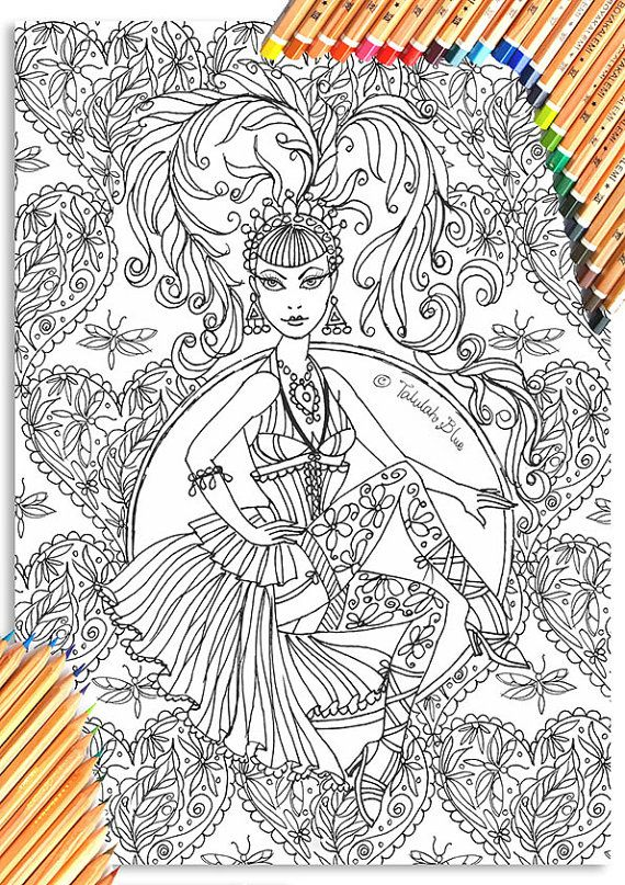 The Circus Girl Colouring Book Showgirl From Www Etsy Com Uk Shop Talulahbluedesigns Coloringbook Coloring Pages Coloring Books Printable Coloring Book