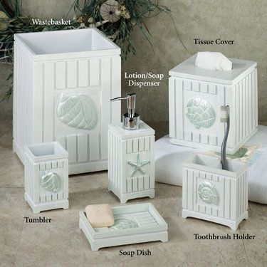 Seaside seashell coastal bath accessories bathroom for Seashell bathroom accessories