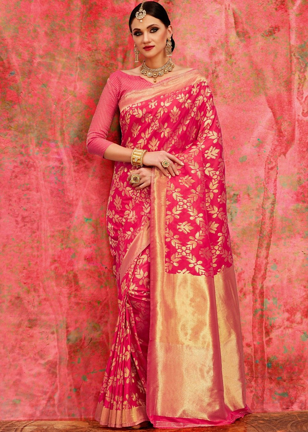 3a3c98347 #Pink #banarasi #silk #saree enhanced by all over foil print with  distinctive #pallu design and heavy border throughout.