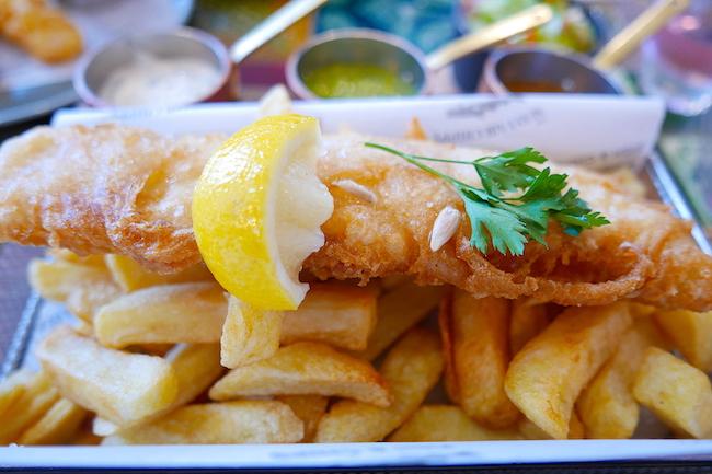 Loved The Mayfair Chippy Aldgate London Vegan Fish Chips Rhubarb Custard Mushy Peas