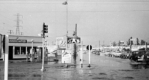 1952 Flooded Streets Of Bellflower Bellflower Bellflower California Lakewood California