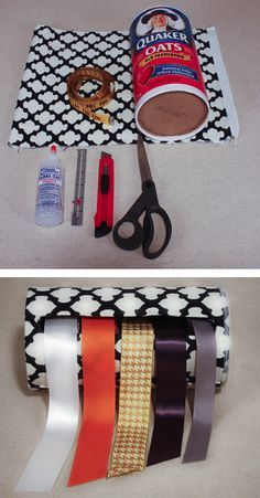 Upcycle Turn An Oatmeal Box Into A Pretty Ribbon Holder Craft