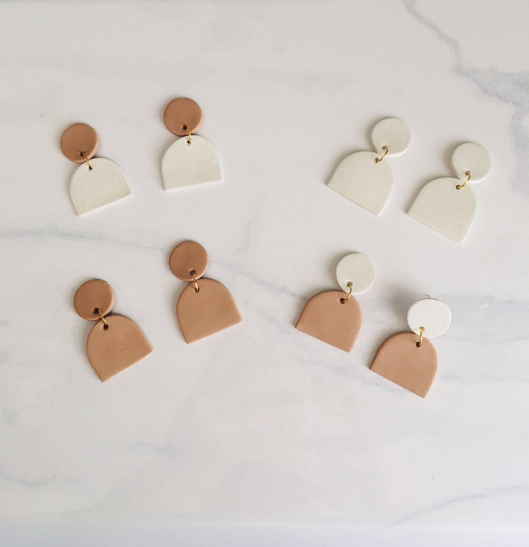 Handmade Earrings Tan Polymer Clay Stud Earrings Geometric Earrings Minimalist Earrings
