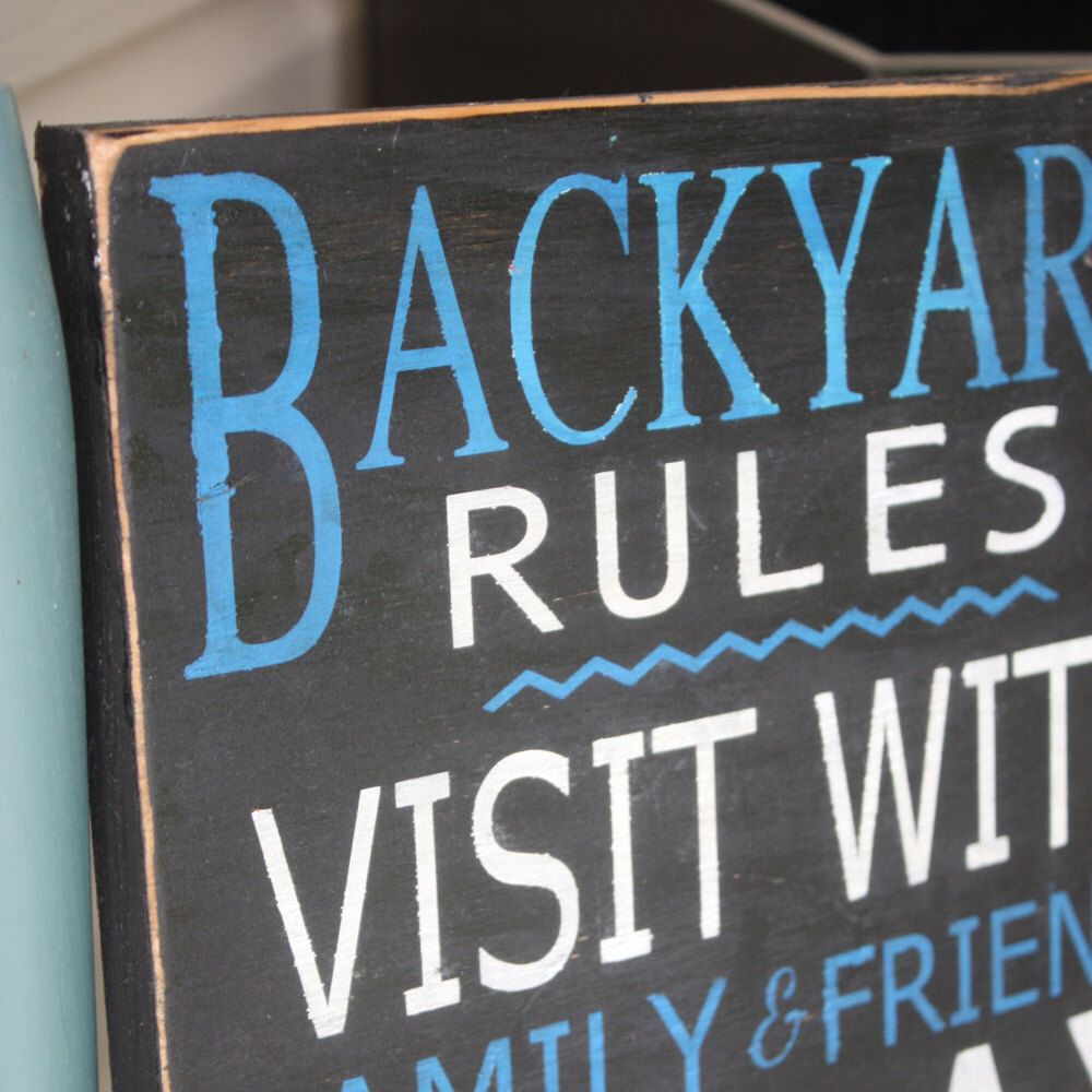 Backyard Rules Sign, Patio Signs Personalized Wood Sign, Hand Painted Home  Decor, Outdoor Sign, Pool Sign, Outdoor Decor, Customize