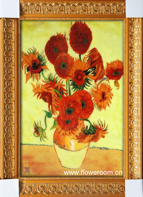 Cloisonne Van Gogh Sunflowers Oil Enamel Painting Bright Home Decor ...