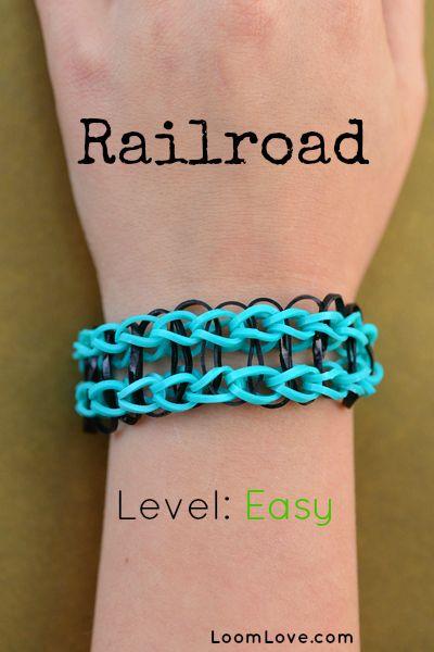 How To Make A Railroad Bracelet Rainbow Loom Designs Rainbow Loom Bracelets Rainbow Loom Bands