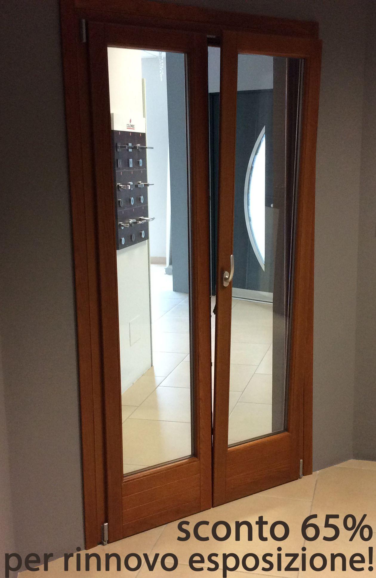 Porta finestra legno a 2 ante famm avant plus 68 in rovere lamellare colore miele sezione - Porta finestra legno ...